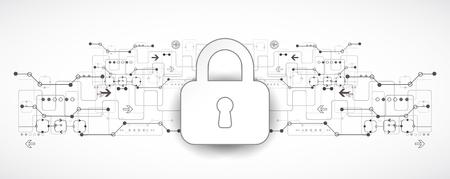 Protection du code de programme. La sécurité de la technologie, encoder et décrypter, schéma de techno, illustration vectorielle Vecteurs