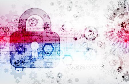 privacidad: Concepto de protección de la tecnología digital y tecnológica. Proteger mecanismo, engranajes y ojo de la cerradura, la privacidad del sistema, ilustración vectorial