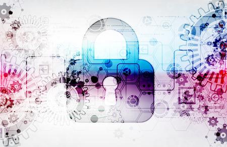 Concepto de protección de la tecnología digital y tecnológica. Proteger mecanismo, engranajes y ojo de la cerradura, la privacidad del sistema, ilustración vectorial
