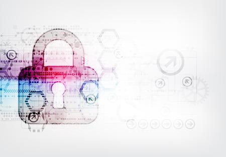 privacidad: Concepto de protección de la tecnología digital y tecnológica. Proteja mecanismo, sistema de privacidad, ilustración vectorial Vectores