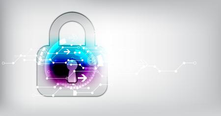 Concepto de protección de la tecnología digital y tecnológica. Proteja mecanismo, sistema de privacidad, ilustración vectorial