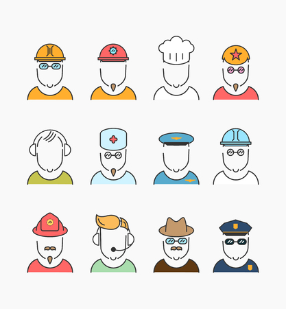 user icon: Various people profession, professional human occupation. Vector icons collection concept.