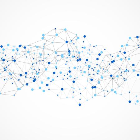 fondos azules: Estructura de conexión. Ilustración vectorial poligonal.
