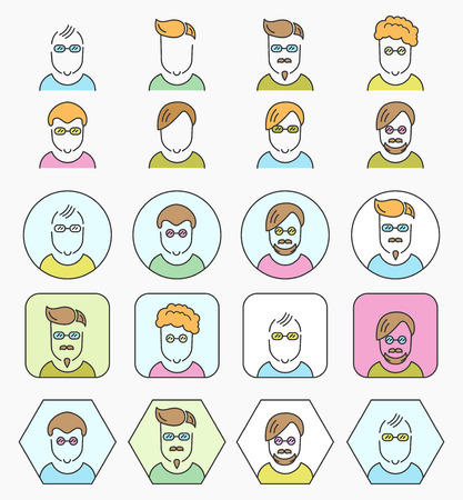 personality character: Line color icons set with flat design. Vector pictogram collection.