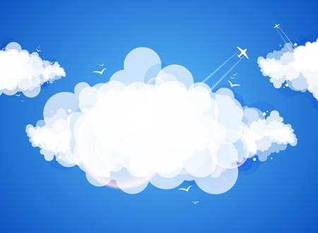 Blue sky with clouds. Vector nature background.