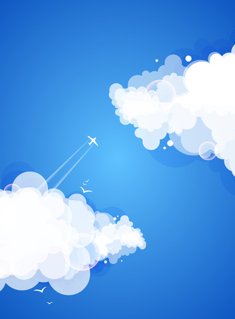 modern abstract design: Blue sky with clouds. Vector nature background.