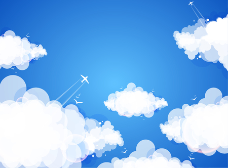 blue sky with clouds: Blue sky with clouds. Vector nature background.