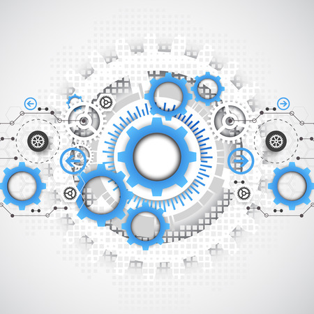 Abstract technology gears background.  Futuristic style. Vector illustration
