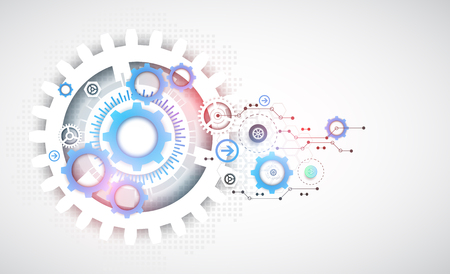 blue circle: Abstract technology gears background.  Futuristic style. Vector illustration