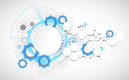Abstract technology gears background.  Futuristic style. Vector illustration Фото со стока - 46601793