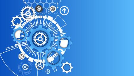 maquinaria: Abstracto de la tecnología engrana el fondo. Estilo futurista. Ilustración vectorial