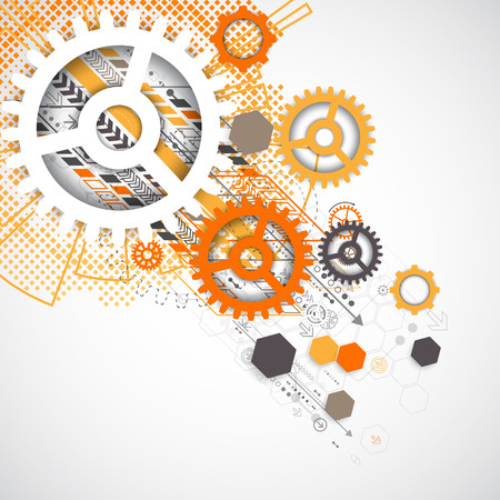 gear: Abstract technology gears background.  Futuristic style with orange square halftone. Vector illustration