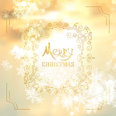 greating card: Art deco vintage christmas design of retro flourishes frames. Vector