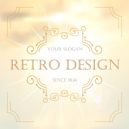 decorative background: Art deco vintage design of retro flourishes frames. Vector Illustration