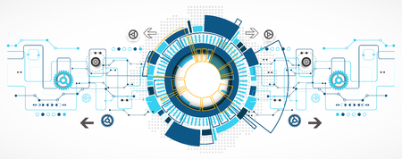 Fondo tecnológico abstracto con diversos elementos tecnológicos. Estructura patrón de la tecnología de telón de fondo. Vector