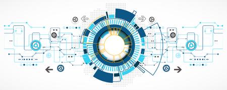 technology: Fundo tecnológico abstrato com vários elementos tecnológicos. Padrão Estrutura tecnologia pano de fundo. Vetor