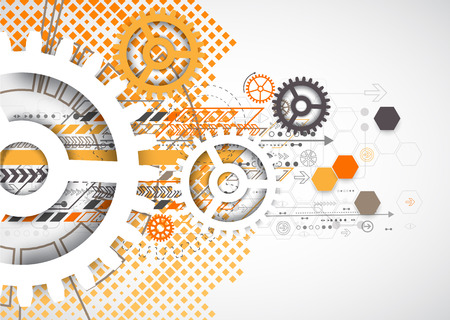 Abstract technology gears background.  Futuristic style with orange square halftone. Vector illustration