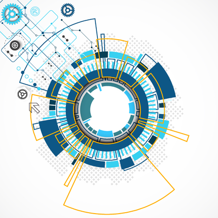 business innovation: Abstract technological background with various technological elements. Structure pattern technology backdrop. Vector Illustration