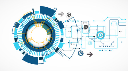 research: Fondo tecnológico abstracto con diversos elementos tecnológicos. Estructura patrón de la tecnología de telón de fondo. Vector