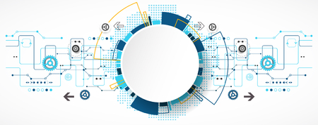 technology banner: Abstract technological background with various technological elements. Structure pattern technology backdrop. Vector Illustration