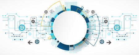 conexiones: Fondo tecnol�gico abstracto con diversos elementos tecnol�gicos. Estructura patr�n de la tecnolog�a de tel�n de fondo. Vector