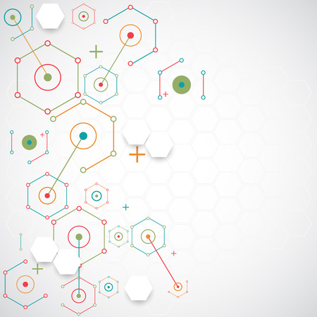 experiments: Abstract technology hexagonal background. Connection structure. Vector