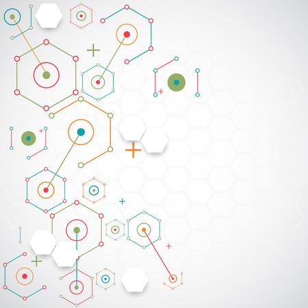 experimento: Resumen de tecnología de fondo hexagonal. Estructura de conexión. Vector Vectores