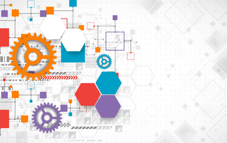 dynamic development: Abstract technology background with various technological elements. Vector Illustration
