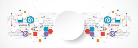 kommunikation: Zusammenfassung Technologie Hintergrund mit verschiedenen technologischen Elementen. Vektor