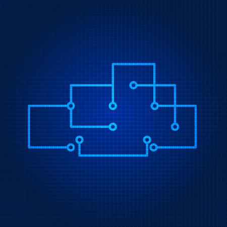 fragmentation: Line style technology cloud background. Vector illustration