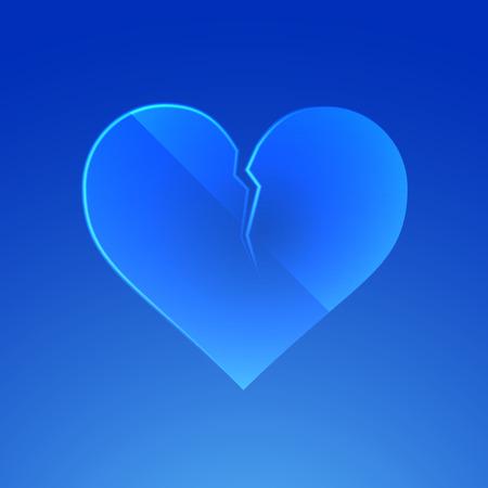 glass heart: Broken glass heart. Vector