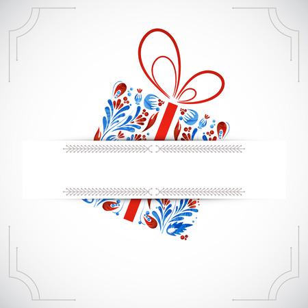 colorful frame: Greeting christmas card. Vector illustration