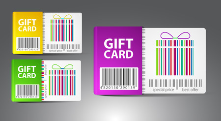 ticket icon: Set of color gift cards. Vector illustration