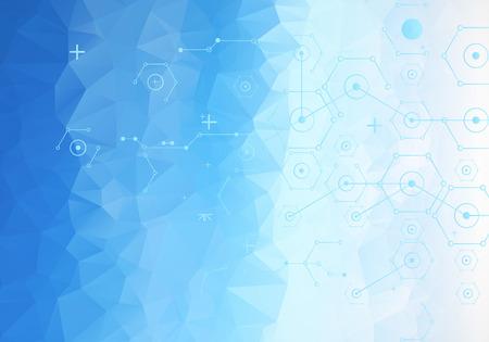 nanotechnology: Colorful technology background. Digital geometric space, vector illustration