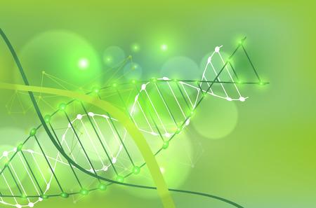 modèle de science, fond d'écran vert ou bannière avec une molécule d'ADN. Vector illustration. Vecteurs
