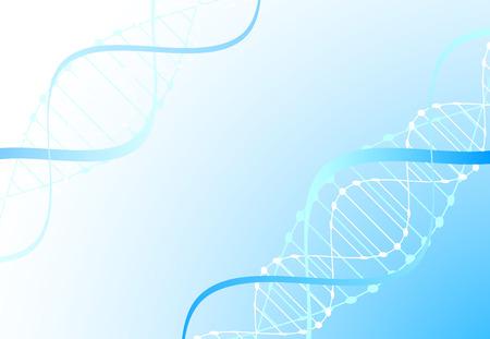 Plantilla de ciencia, papel tapiz azul o pancarta con moléculas de ADN. Ilustración vectorial