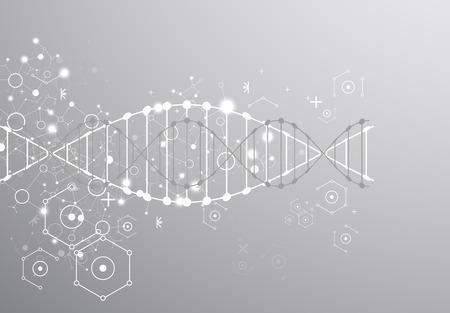 plantilla de la ciencia, papel pintado de color gris o pancarta con un moléculas de ADN. Ilustración del vector. Ilustración de vector