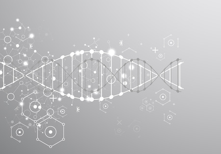 Science template, grey wallpaper or banner with a DNA molecules. Vector illustration.