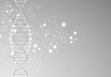 과학 서식 파일, 회색 벽지 또는 DNA 분자 배너. 벡터 일러스트 레이 션.