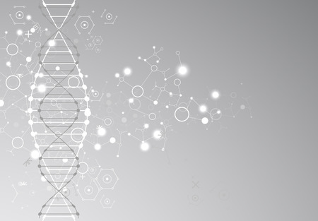 grey background: Science template, grey wallpaper or banner with a DNA molecules. Vector illustration.