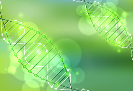 light green: Science template, green wallpaper or banner with a DNA molecules. Illustration