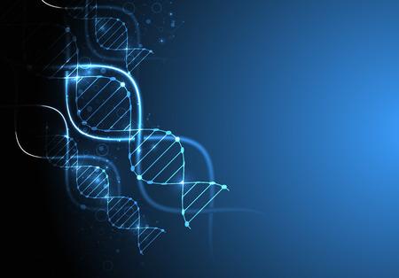 biotecnologia: plantilla de la ciencia, el papel pintado o un banner con moléculas de ADN. Vectores