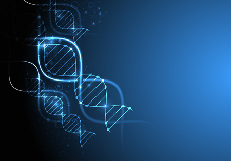 blue dna: Science template, wallpaper or banner with a DNA molecules.