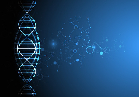biotecnologia: plantilla de la ciencia, el papel pintado o un banner con moléculas de ADN. Ilustración del vector.