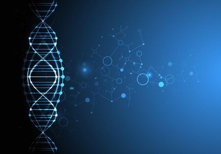 Szablon Nauka, tapety lub transparentu z cząsteczek DNA. ilustracji wektorowych.