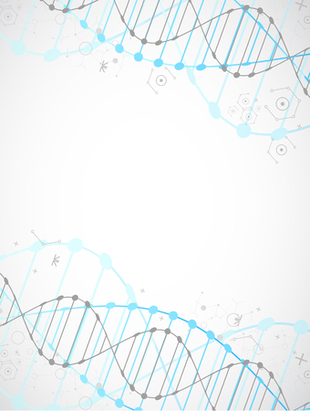 dna graph: Science template, wallpaper or banner with a DNA molecules. Vector illustration.