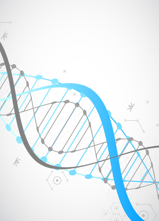 molecule icon: Science template, wallpaper or banner with a DNA molecules. Vector illustration.