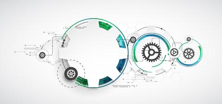 Abstract technology background. Cogwheels theme. Vector illustration Illustration