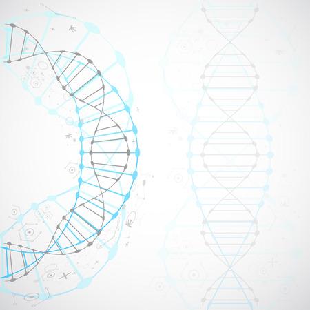 과학 템플릿, DNA 분자와 벽지 또는 배너입니다. 벡터 일러스트 레이 션.