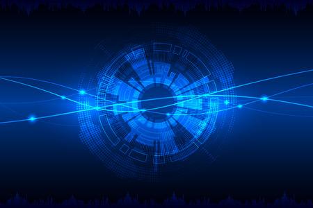 다양한 기술적 요소와 블루 추상적 인 기술적 배경. 벡터